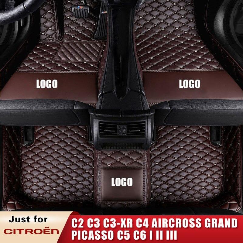 Tapis de sol en cuir sur mesure   Pour citroën C2 4/4 C6 coupé 1 2 3 A Trois Volumes, pour Aircross Grand Picasso C5 C6