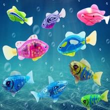 Flash Swimming Electronic Fish Pet Bath Toys Battery Powered Swim Robotic for Children Kids Bathtub