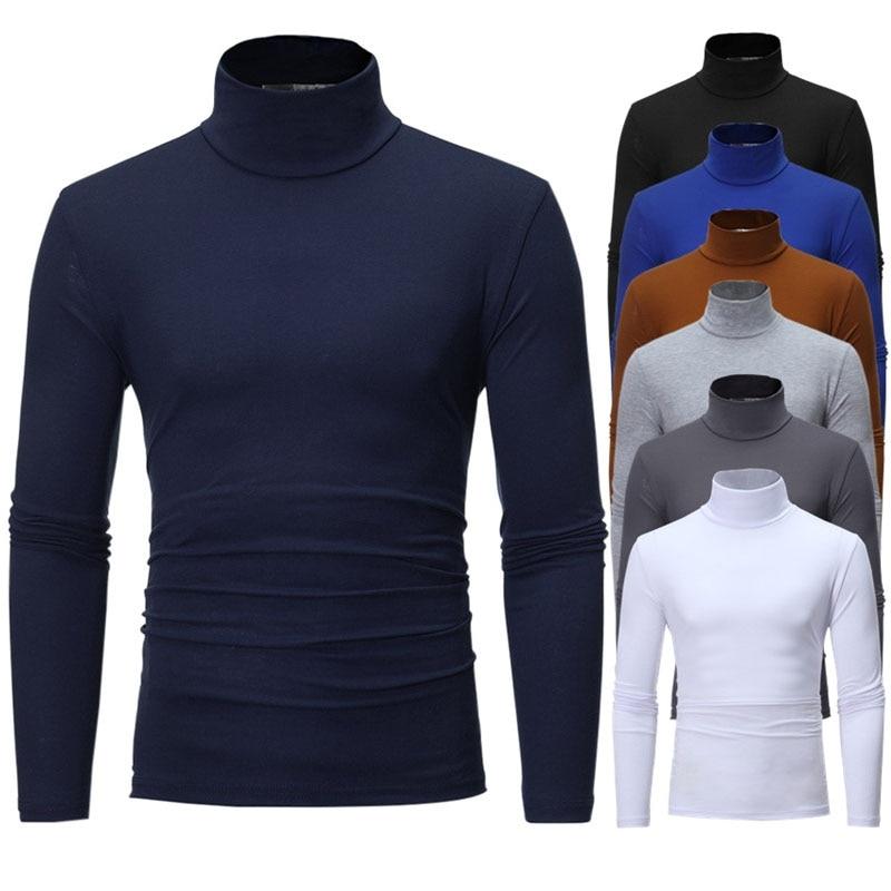 turtleneck for men Solid colour slim elastic thin pullover men Spring Autumn turtleneck men knitting brand sweater men