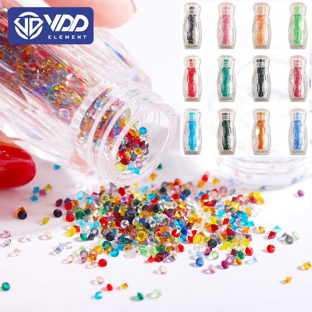 VDD 3000Pcs 1.1mm Glass Crystal Rhinestones Cone Round Pointed Mini Glitter Diamond Strass Stone For