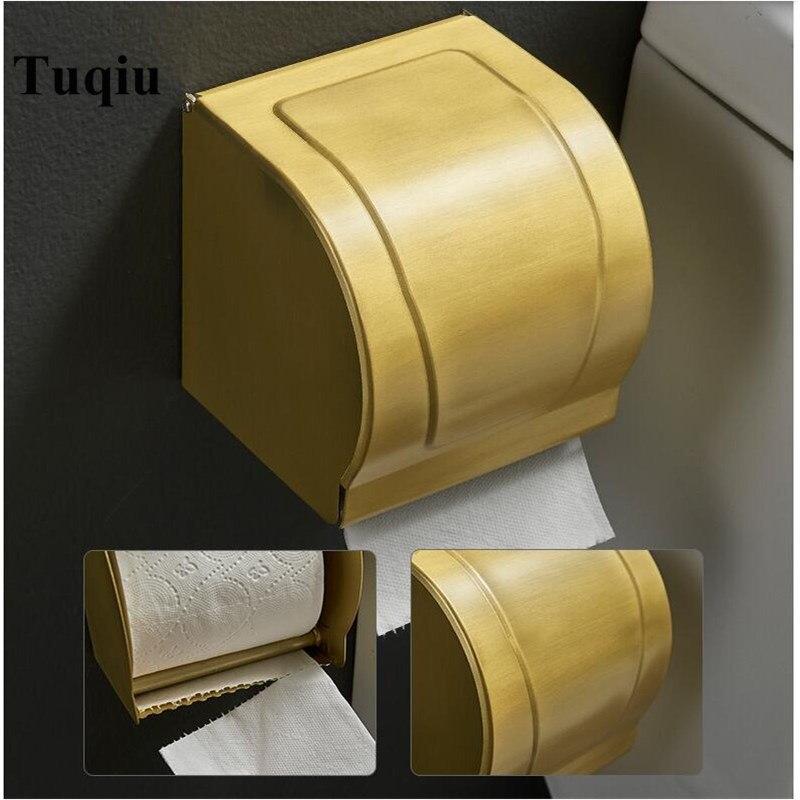 Vidric-حامل ورق التواليت من مادة الألومنيوم الذهبية ، حامل فرشاة مثبت على الحائط لفافة مناديل الحمام