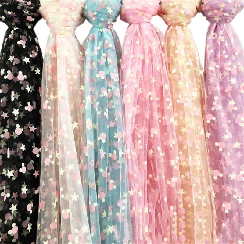 1 metro mickeys estrela tule lantejoulas tecido diy artesanato vestido de casamento tutu chá do bebê princesa vestido festa decorações costura pano