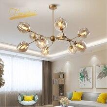 Bola de cristal nórdica LOFT lámpara LED Lustre sala de estar Villa decoración Interior lámpara colgante iluminación accesorios de cocina