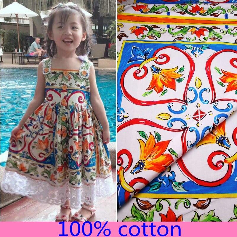 Sizilien streifen Printed100 % baumwolle stoff für frauen kinder kleid DIY tuch für Patchwork Nähen Hand handarbeit puppen Material