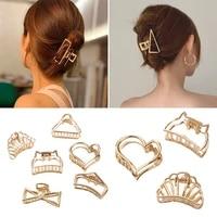 1pcs metal hair claws for women simple wild hair clips fashion girls hair accessories geometric hollow hairpins ladies headwear