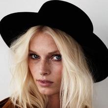 New Wool Mens Fashion Felt Hat Flat Top Hat Wide Brim Boater For Womens