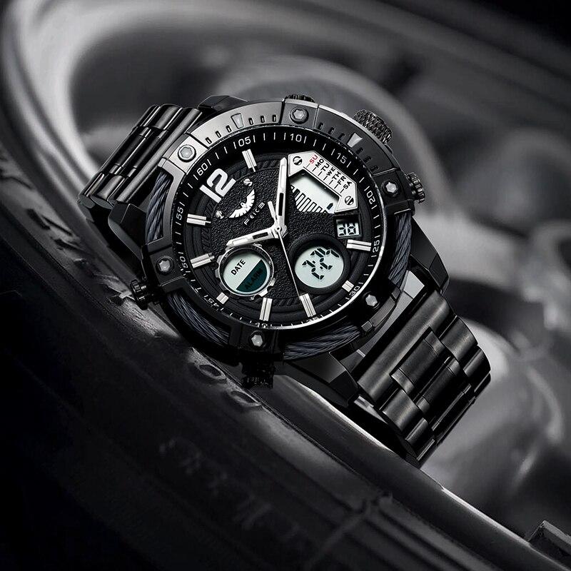 FEICE جديد الرياضة الرجال ساعة كوارتز متعددة الوظائف الفولاذ المقاوم للصدأ مقاوم للماء الفاخرة ساعة الانارة عادية الساعات FK038A