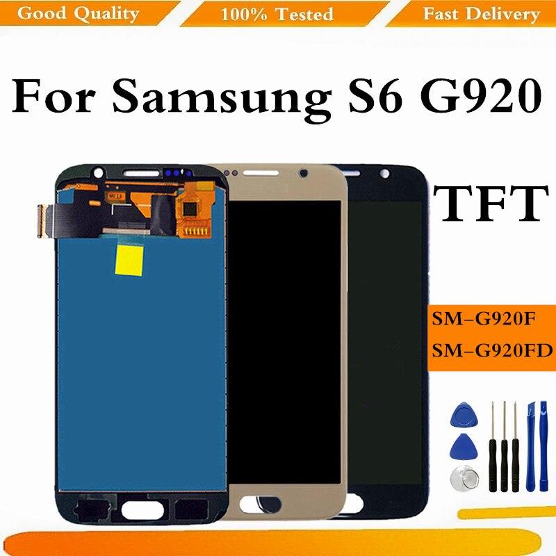 TFT لسامسونج S6 G920F LCD شاشة عرض لوحة اللمس محول الأرقام لسامسونج S6 G920 شاشة عرض لسامسونج غالاكسي S6 LCD