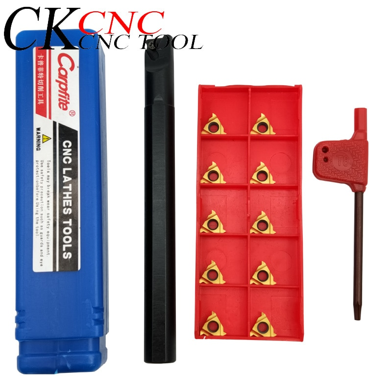 1pcs SNR0012M11 inner hole lathe turning holder tool + 10pcs 11IR A60 thread turning tool carbide insert