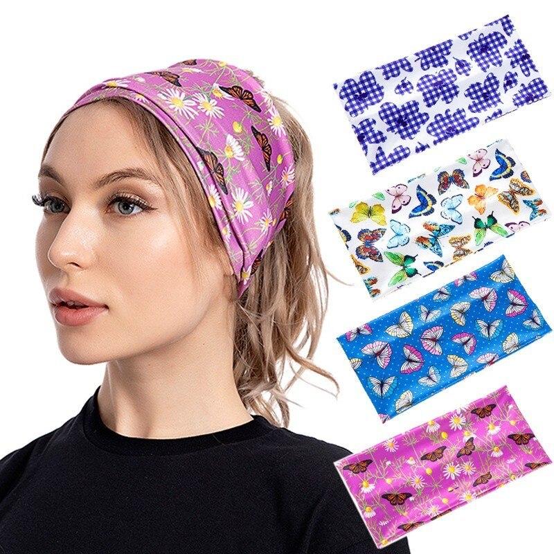 Новое поступление, модные повязки на голову с принтом бабочки для женщин, эластичные витые повязки для волос, тюрбан, повязки на голову, аксе...