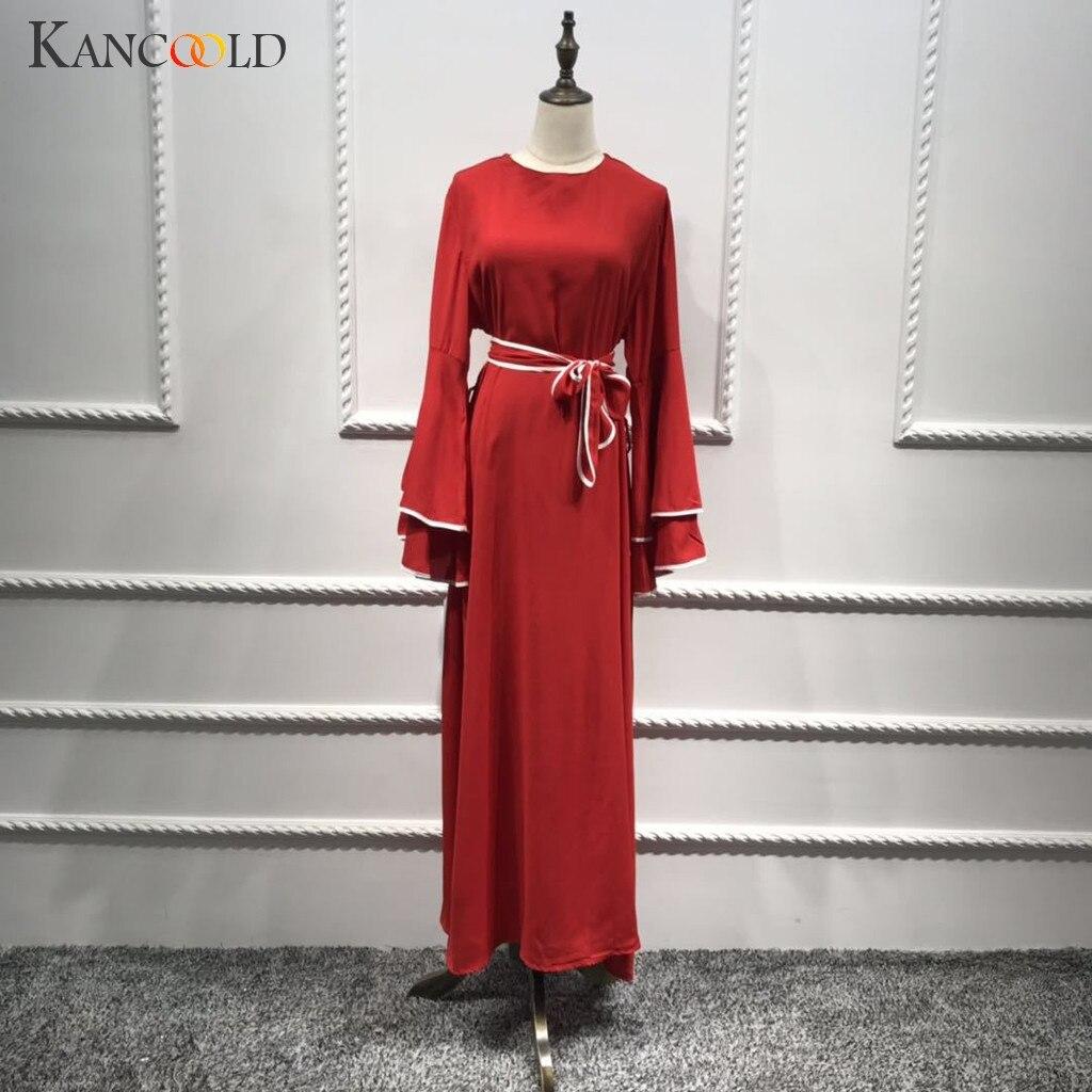 KANCOOLD Дубай Кафтан кардиган абайя мусульманское платье с двумя роговыми рукавами для женщин Бангладеш турецкое исламское платье Макси