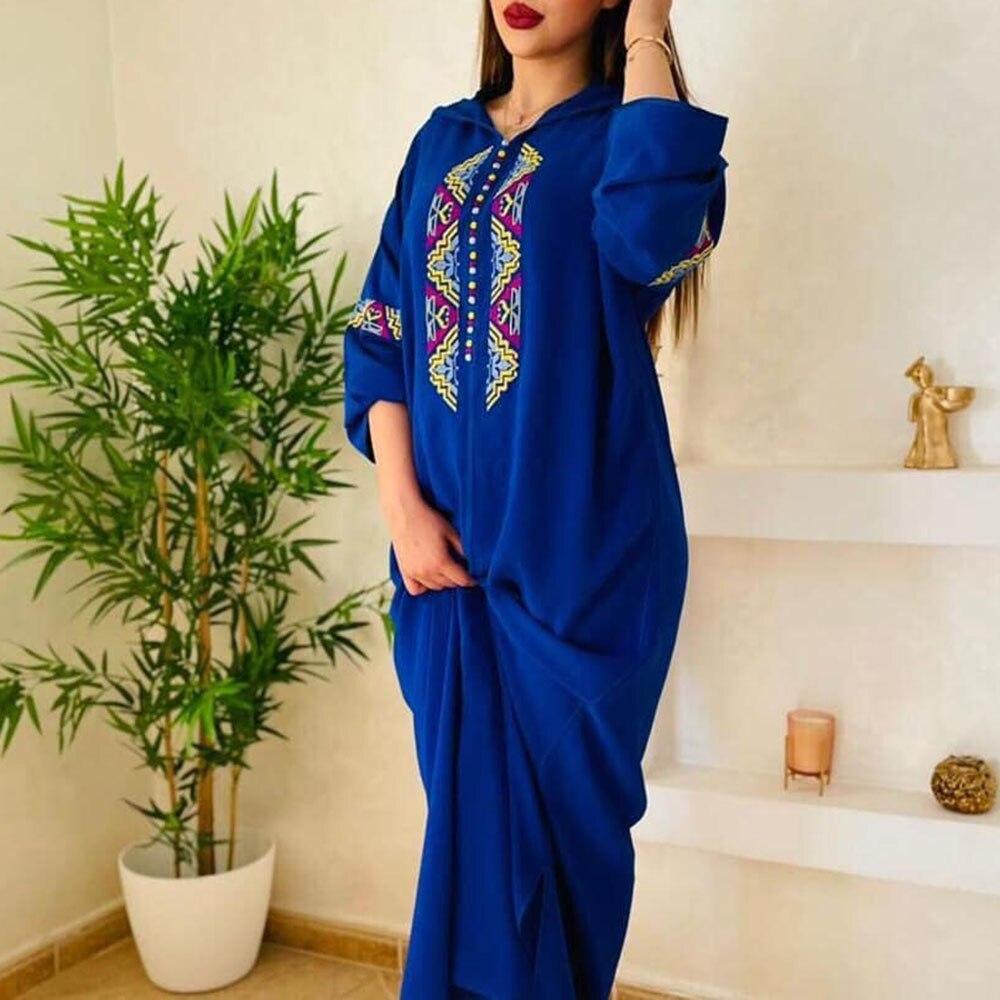 Vestido largo de caftán Jellaba marroquí para mujer, bordado de Moda musulmana,...
