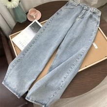 2021 New Mom Jeans Straight Pants Washed Loose High Waist Plus Size Women Casual Boyfriends Cowboy V