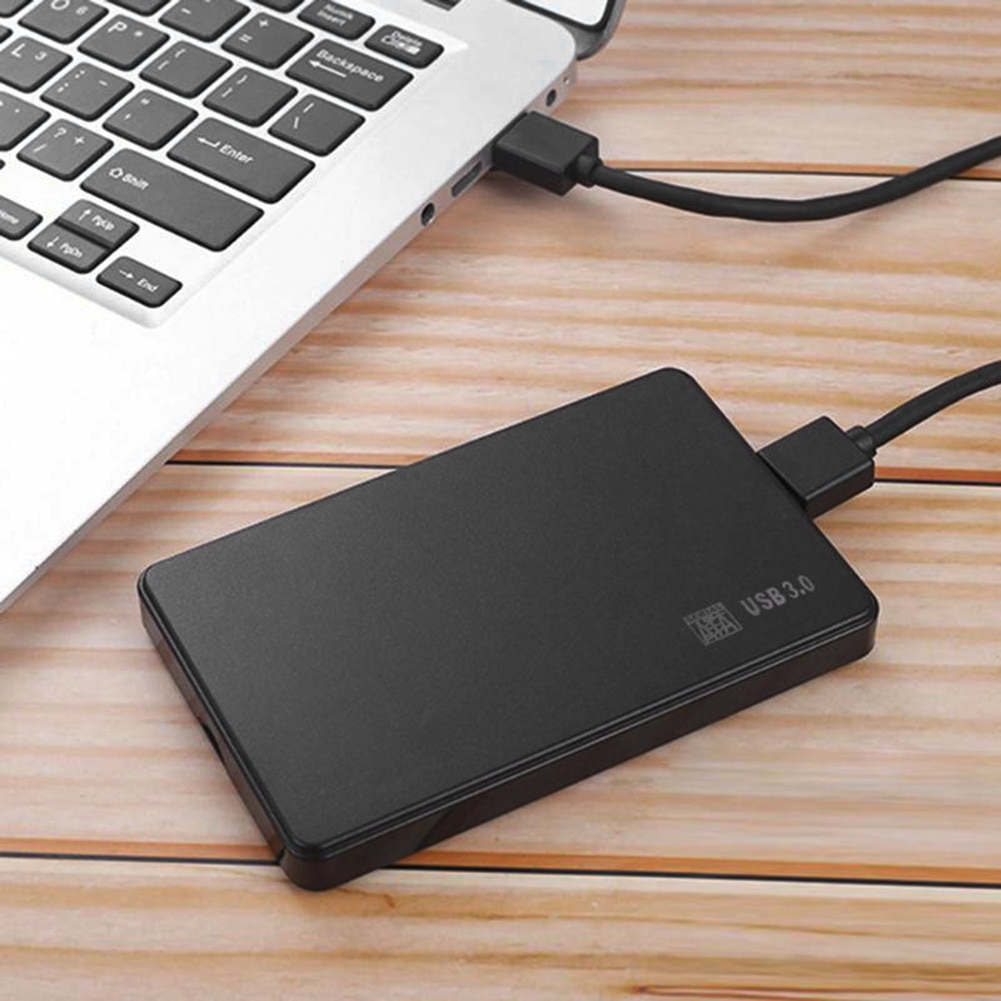 Plastic USB 2.0/3.0 Enclosure External 2.5 inch SATA SSD HDD Adapter Mobile Box HDD Case with USB Cable Pouch New