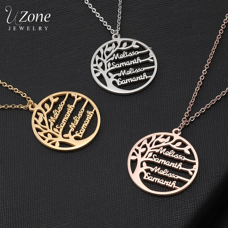 UZone Custom Name Family Tree Necklace For Women Stainless Steel Personalized Nameplate Necklace Statement Jewelry Birthday Gift недорого