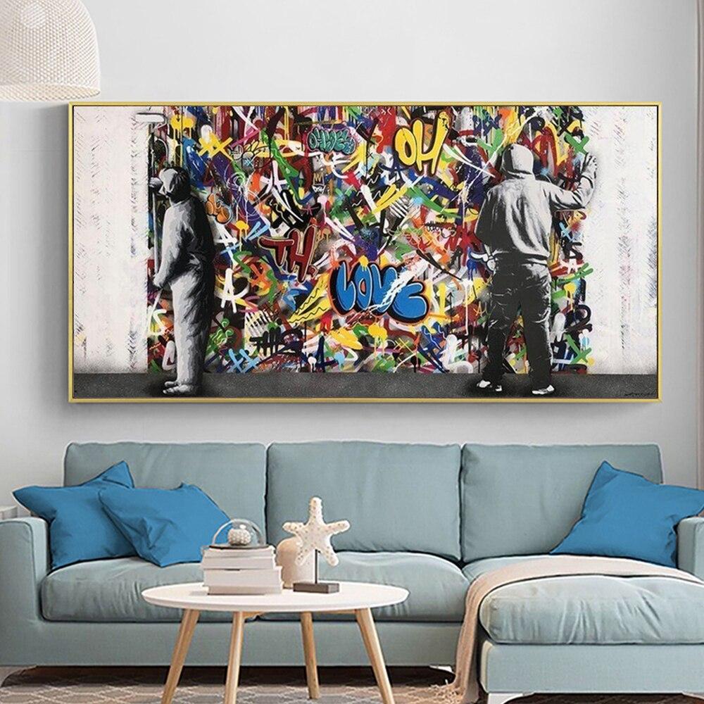 Абстрактные граффити за занавеской, Масляные картины для фотографий, настенные картины, художественные рисунки на холсте, декор для спальн...