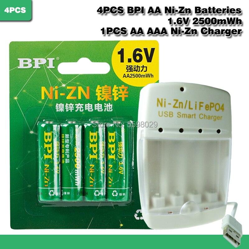4 pces ni-zn 1.6 v aa 2500mwh bateria recarregável + 1 pces aa/aaa lipo4 ni-zn usb carregador inteligente
