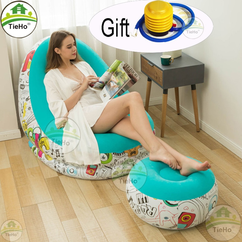lazy inflatable bed home new air single two people both use black wave flocking bed factory creative home wholesale air soa beds TieHo Flocking Inflatable Sofa Folding Lazy Lounge Chair Lunch Break Sofa Bed with Stool Ottoman Single Sofa Home Furniture