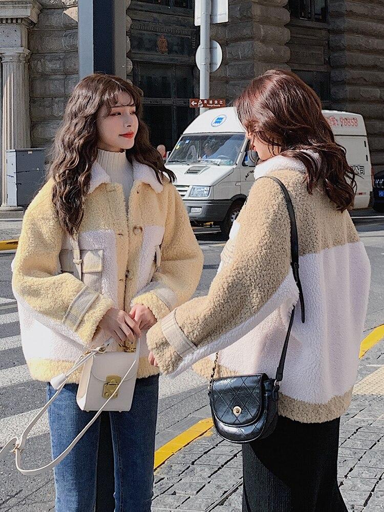 Novo casaco de lã de cordeiro inverno feminino engrossado pequena fragrância estilo coreano solto curto costura cordeiro lã topo