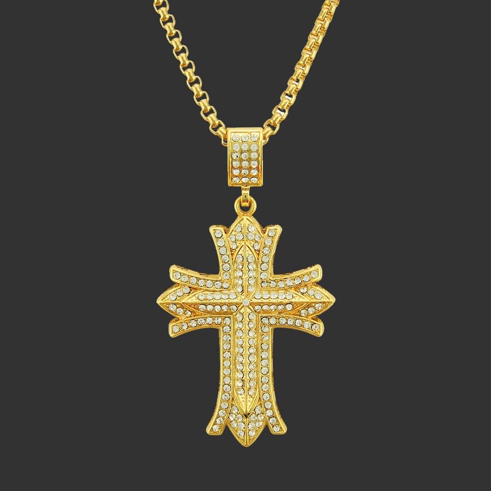 Popular collar de cadena a la moda con colgante de Cruz de mosaico circonio de plata 925 de Hip Hop, accesorios de joyería de personalidad