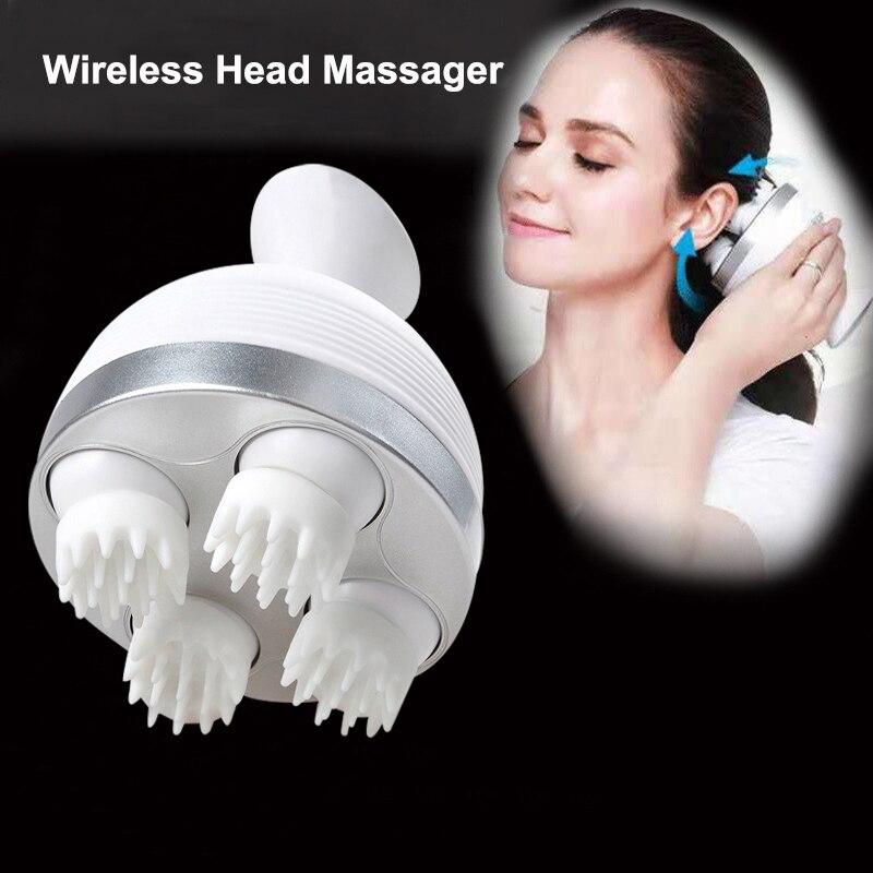 OPHAX Waterproof wireless electric hand held shiastu manual 4 heads scalp massager device relax head massager massage relaxation