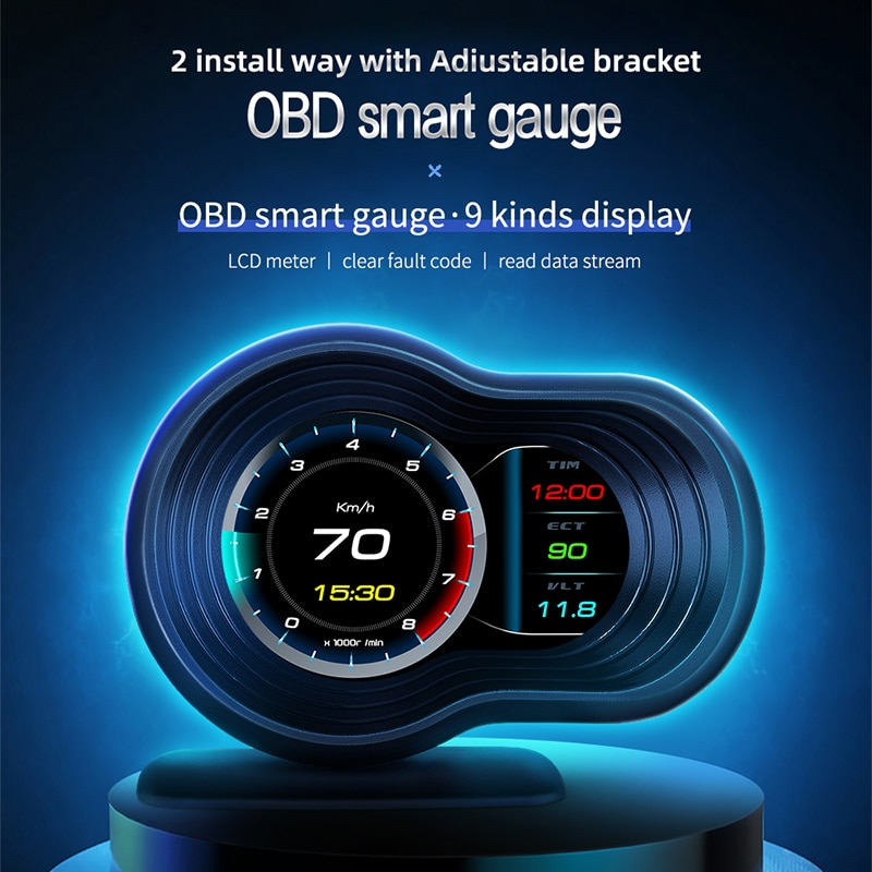 New Head Up Display Auto Display OBD2 Smart Car HUD Gauge Digital Odometer Security Alarm Water&Oil Temp RPM Brake Test