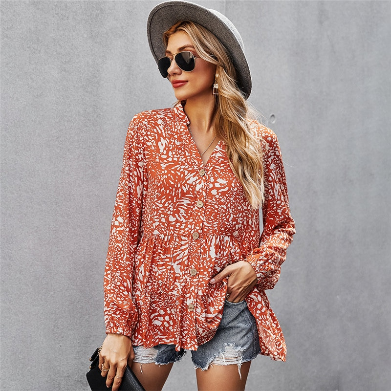 2021 Spring New Chiffon Blouse Women V Neck Full Sleeve Summer Tops For Casual Single Breasted Shirt
