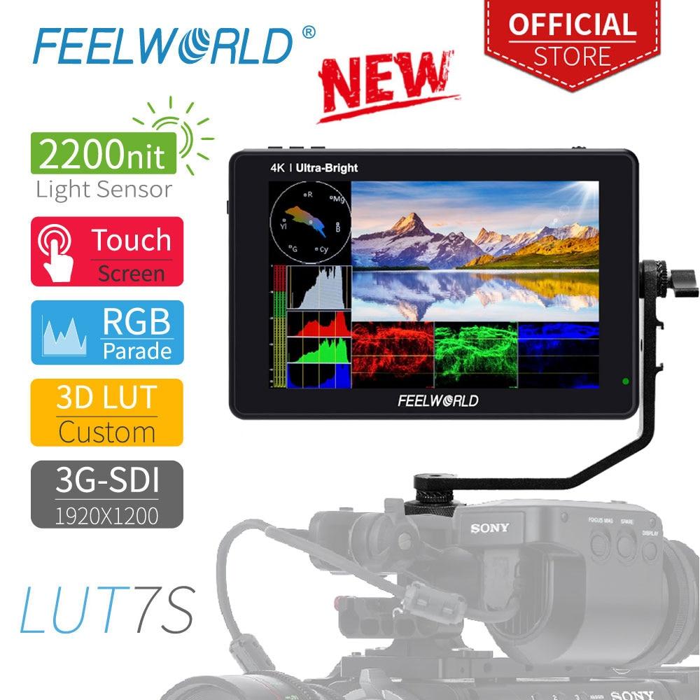 Feel world LUT7S 7 بوصة 3G-SDI 4KHDMI 2200nits ثلاثية الأبعاد LUT شاشة تعمل باللمس DSLR كاميرا جهاز المراقبة الميدانية مع الموجي فيكتوراسكوب الرسم البياني