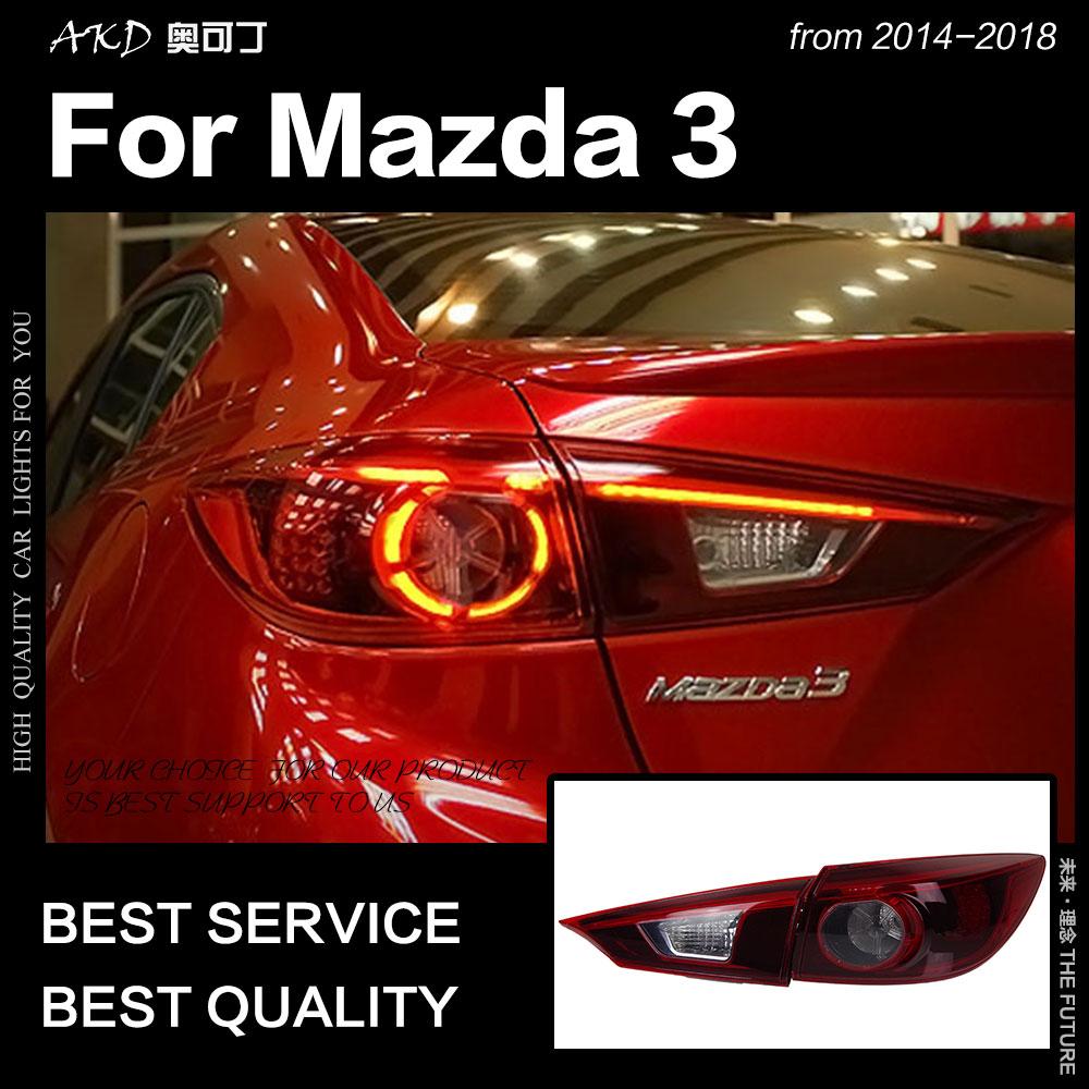 AKD-مصباح خلفي لسيارة Mazda 3 ، مصباح أمامي LED للسيارة مع إشارة الفرامل وعكس DRL ، 2014-2018 ، Mazda3 Axela