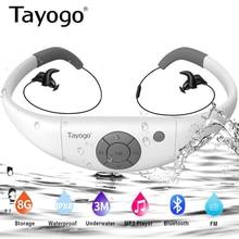 Tayogo W12 HIFI Swimming Headset MP3 Music Player with Bluetooth FM Radio Pedometer IPX8 Waterproof Headphone Sports Mp3 Player
