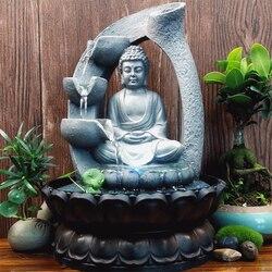 Decorações para casa de 110v, decorações de resina flutuantes, água, cachoeira, estátua de buda, feng lucky shui, decoração da paisagem