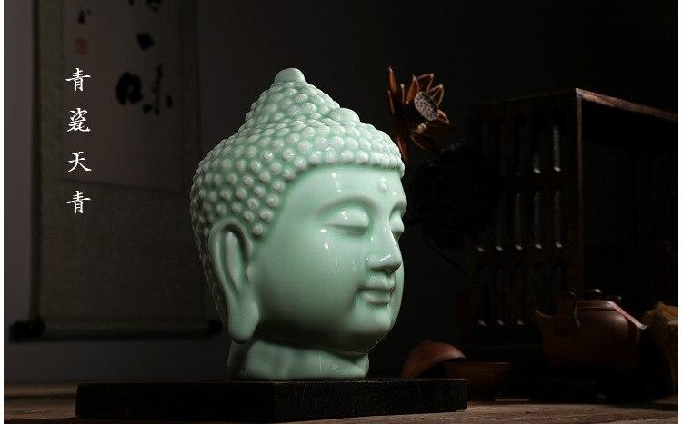 Cabeza de Buda de cerámica, decoración del hogar, figura de budista, escultura,...