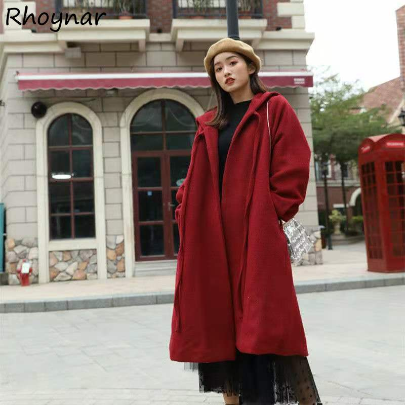 Blends Women Thick Winter Mid-calf Warm Students Loose Fashion Bandage Pure Colors Simple Oversize K