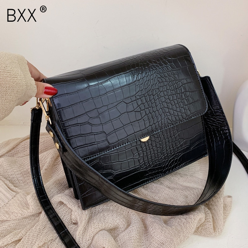 [BXX] Stone Pattern PU Leather Crossbody Bags For Women 2021 Autumn Brand Designer Shoulder Messenger Bag Female Handbags HI917