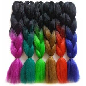 5 шт./лот, градиентные двухцветные 24 дюймовые синтетические Омбре плетеные волосы, плетеные косички, вязанные крючком волосы, термостойкие