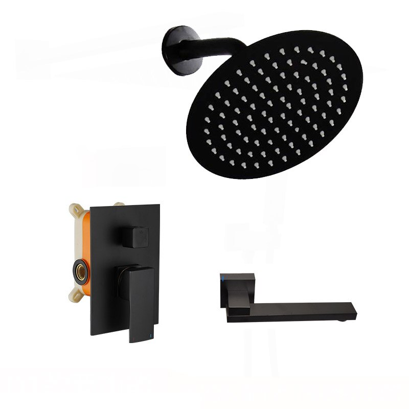مجموعة نظام صنبور دش أسود غير لامع من IMPEU ، مع رأس دش 8 بوصة Handheld ، صمام خشن
