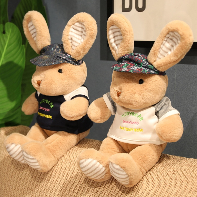 1pc 38/48cm Lovely Rabbit with Clothes Plush Toys Trendy Rabbit Dolls Soft Stuffed Animal Pillow for Child Girls Birthday Gifts