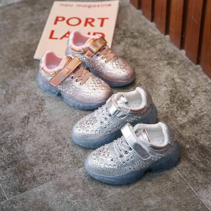 Koovan meninas sapatos 2020 novo outono as grandes crianças strass sapatos esportivos sapatos casuais das crianças tênis para estudantes