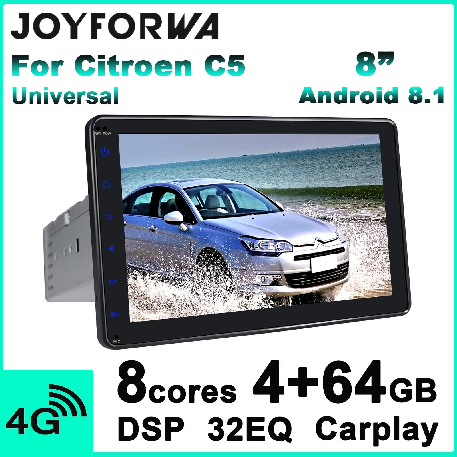 "Carplay dsp 8 ""1din android 8.1 rádio multimídia do carro para citroen c5 gps spdif subwoofer 4g sim wifi dvr dab obd bluetooth tpms"