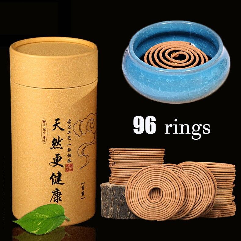 Incienso Natural 96 Rigns bobina en caja venta a granel Anti-olor 4 horas sala de estar incienso redondo quemador de incienso opcional cerámica