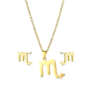 Small Stainless Steel 12 Horoscope Zodiac Constellations Sign Scorpio Chain Necklace Sets Choker For Women Collier Femme Jewelry
