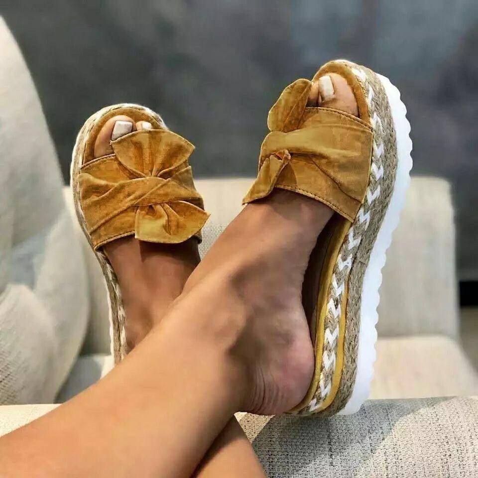 2021 Summer Women Sandals Platform Shoes Bow Sandals Slipper Indoor Outdoor Flip-flops Beach Shoes Female Slippers