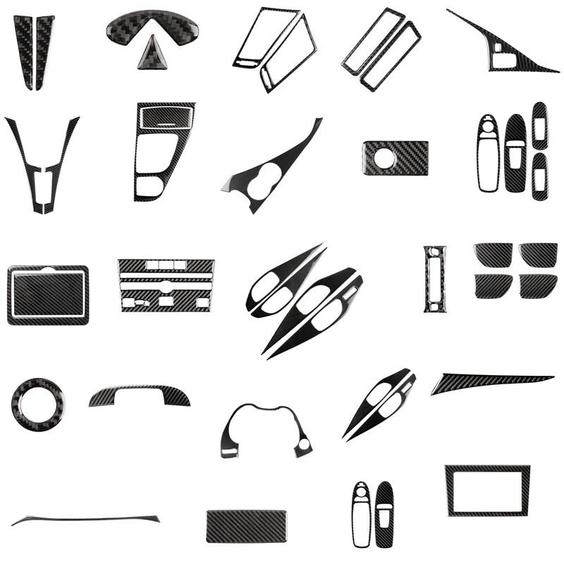 RRX For Infiniti Q50 Q60 QX50 QX60 JX Accessories Carbon Fiber Gear Shift Panel Automotive Interior Trim Start Logo Stickers