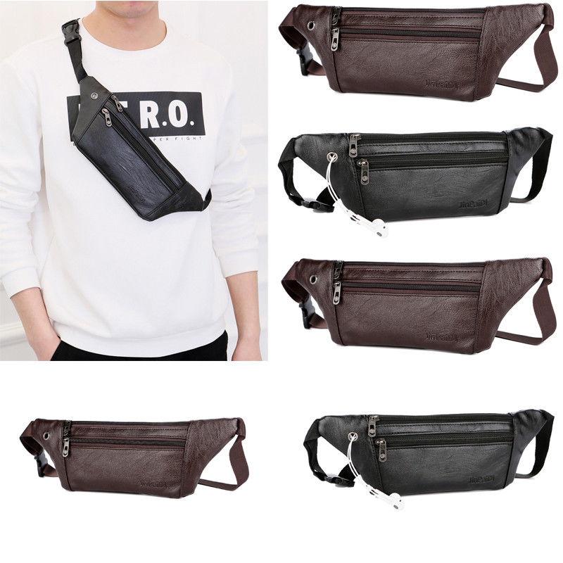 2020 de los hombres de cuero de la PU de Fanny Pack cremallera delgada de viajes de senderismo Cruz cuerpo mensajero cintura bolso de la correa del pecho bolso de moda