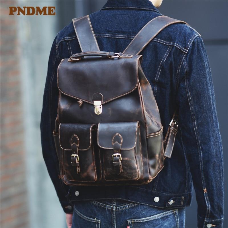 Pndme vintage cavalo louco mochila das mulheres dos homens de couro genuíno natural viagem ao ar livre multi-bolso bloqueio computador bagpack