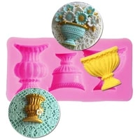 vase cup shape silicone fondant mold for diy cake pastry dessert chocolate lace decoration kitchen baking tool