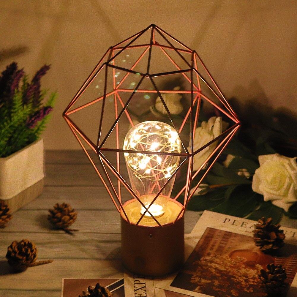 Arte ferro oco retro decoração lâmpada de mesa led fio cobre lâmpada luz da noite casa decoração presentes cabeceira mesa luz com bateria