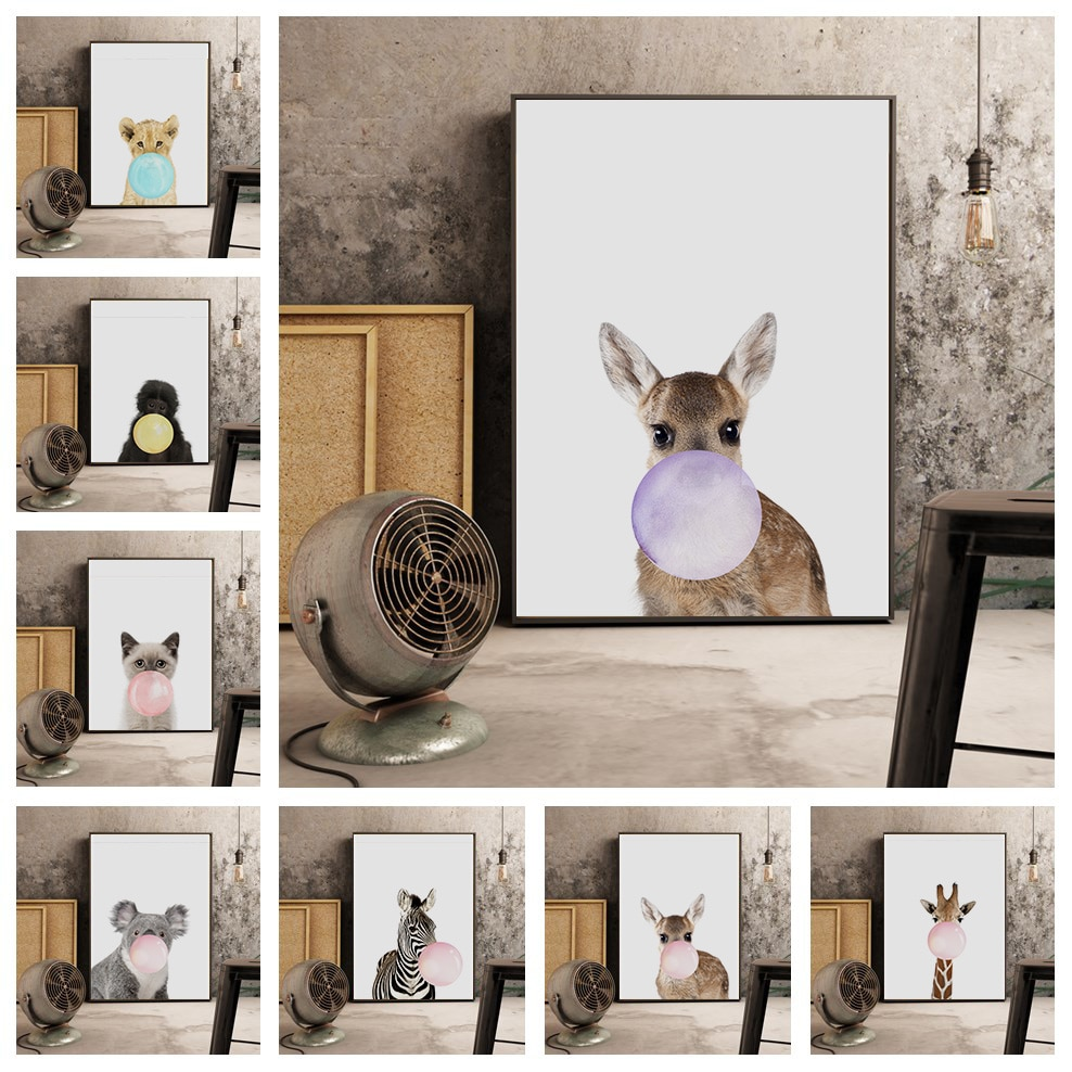 Animal Nursery Poster Bubble Canvas Painting for Living Room Decoration Wall Pictures Art Posters vintage room decor wall art
