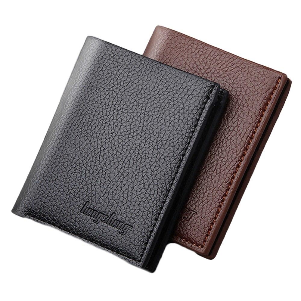 Cartera de cuero de PU AA para hombre, billetera corta con doble pliegue, monedero, monedero, tarjetas de identificación para crédito, portatarjetas para foto o licencia de conducir