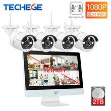 Techgee-Kit écran LCD 12 pouces 8CH   Kit HD 1080P NVR, moniteur de sécurité 2 mp, deux voies, caméra Audio WIFI, système de caméra de vidéosurveillance, télécommande APP